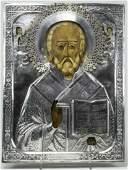 Antique 84 Silver 19c Russian icon of St.Nicholas