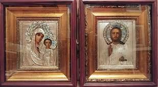 Antique 19c Russian Silver Enamel wedding pair icons &