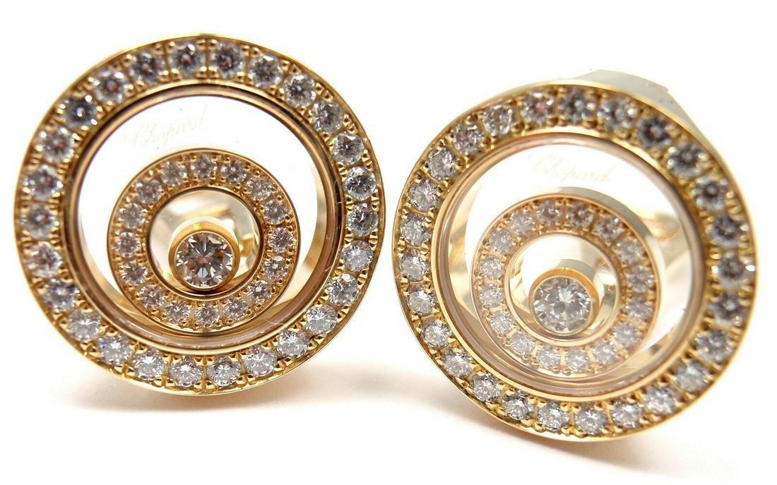 Authentic! Chopard 18k Yellow Gold Happy Spirit Diamond
