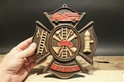 Cast Iron Fire Fighter Plaque Fire Mark Sign
