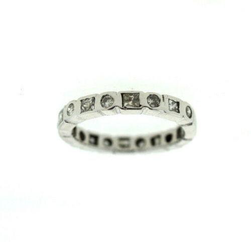 14K WHITE GOLD DIAMOND MODERN BAND RING WEDDING ROUND &