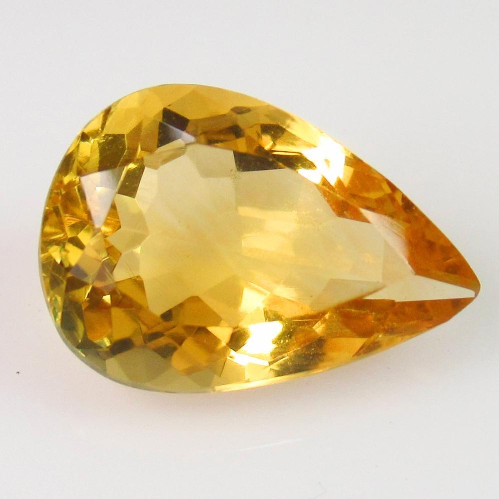 5.16 Ct Genuine Yellow Citrine Pear Cut