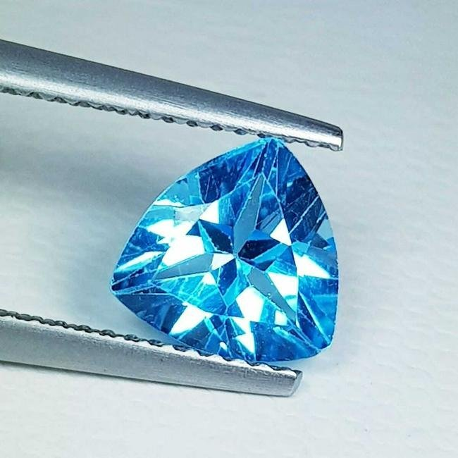 2.01 ct Natural Swiss Blue Topaz Triangle Cut