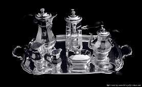 Christofle 8 pc. 950 Sterling Silver Art Deco Tea Set