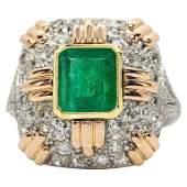 Estate 18 Karat Gold and Platinum Emerald and Diamonds