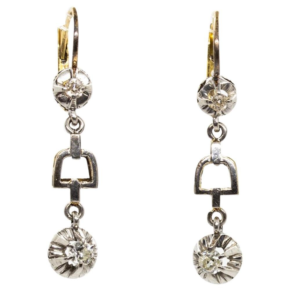 Art Deco Antique 18 Karat Gold and Platinum Diamonds
