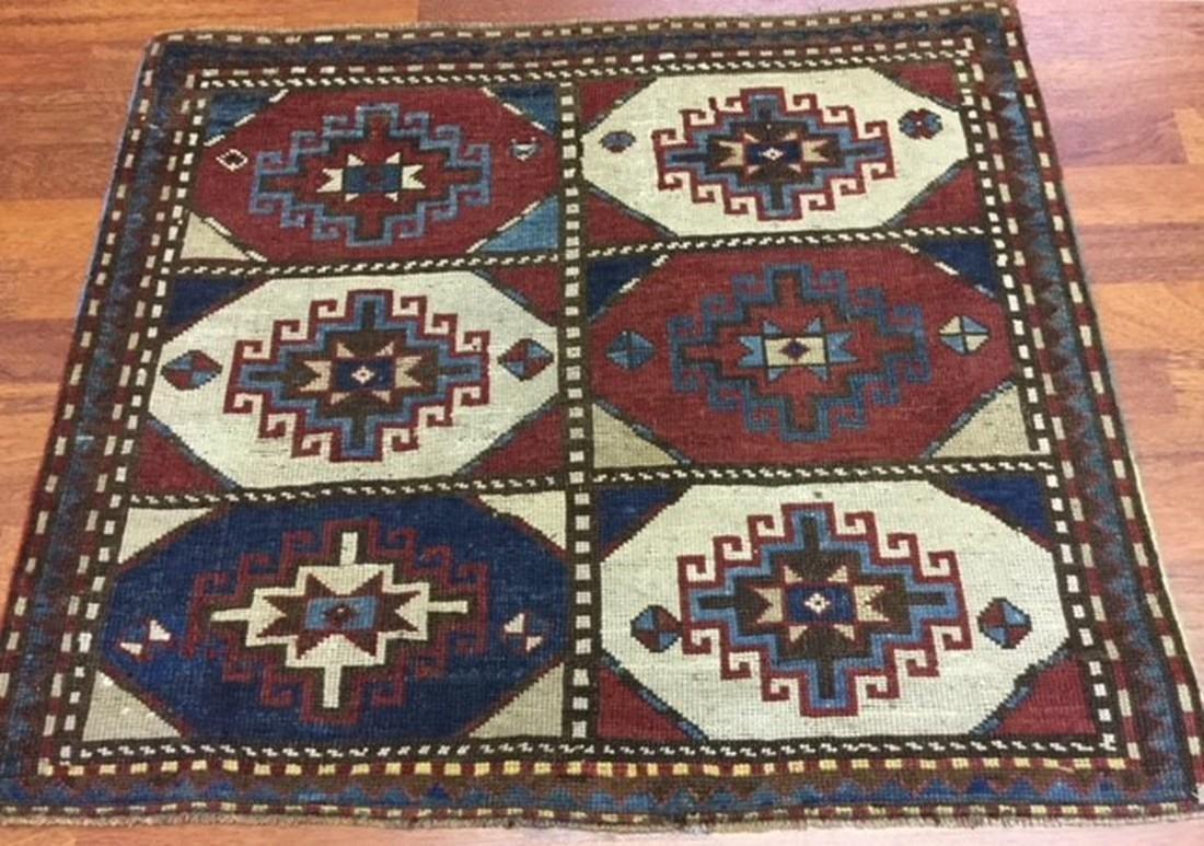 Square size of antique Hooked Kazak Caucasian Rug-4266