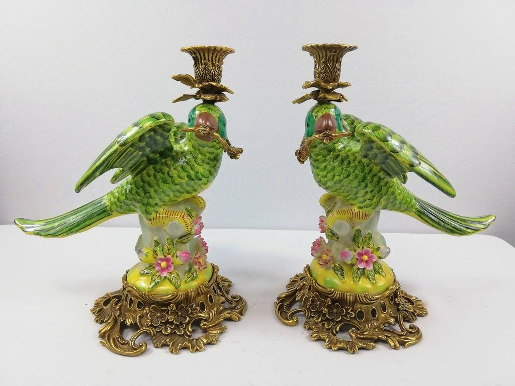 Porcelain candlesticks with bronze ornaments (depicting