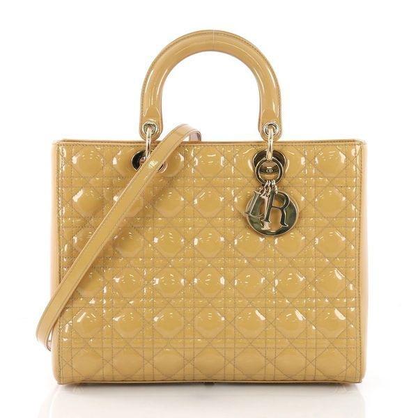Lady Dior Handbag Cannage Quilt Patent Large Yellow