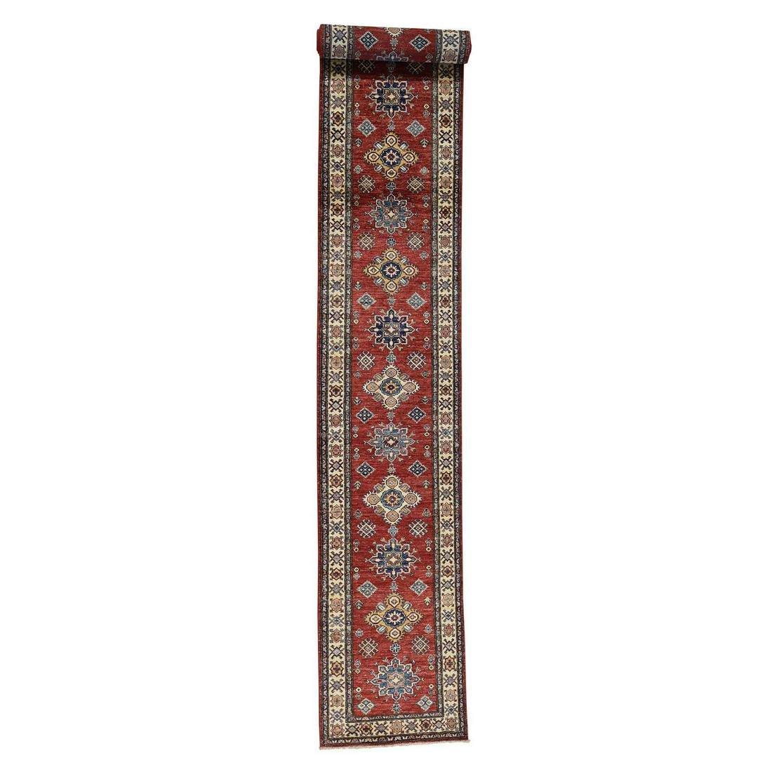 Red Super Kazak XL Runner Hand-Knotted Pure Wool Rug