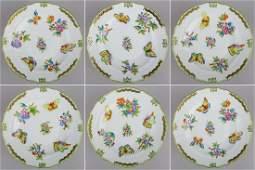 Set of Six Herend Queen Victoria Dessert Plates, 6
