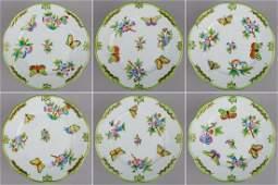 Set of Six Herend Queen Victoria Dessert Plates #516