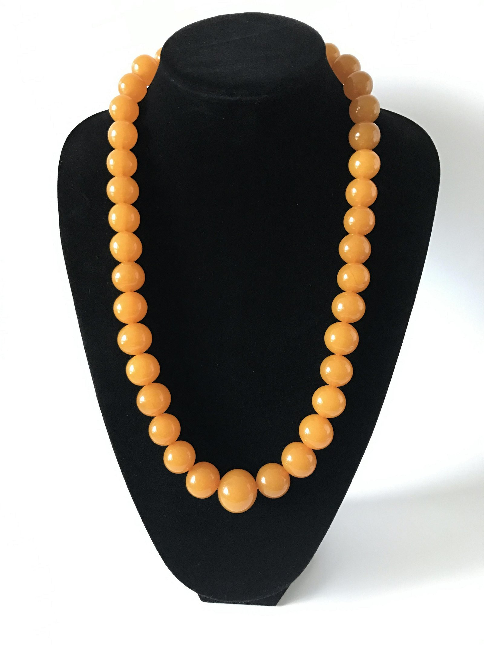 Old Baltic Amber Necklace Toffee Colour Round Beads