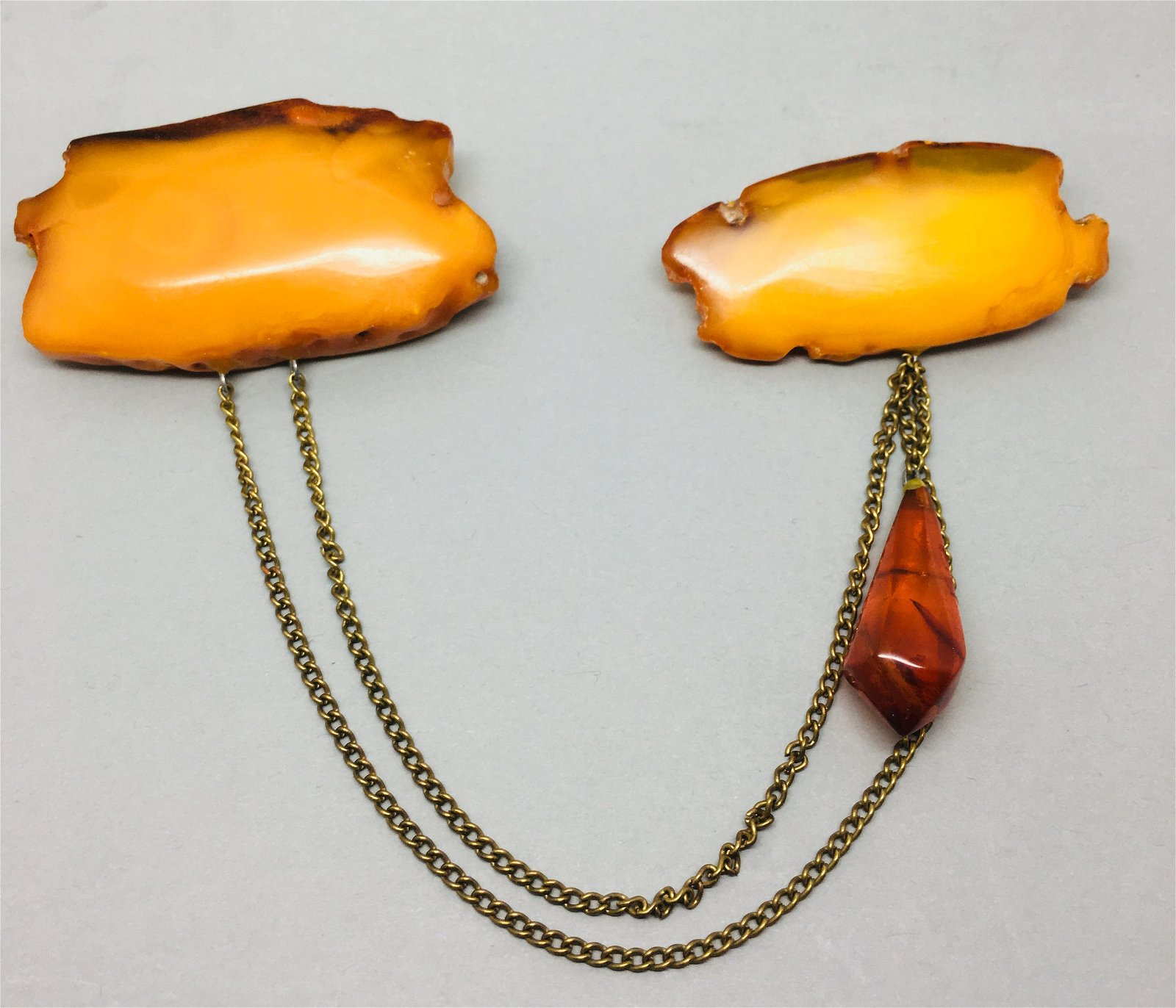 Vintage Amber Double Brooch with chain