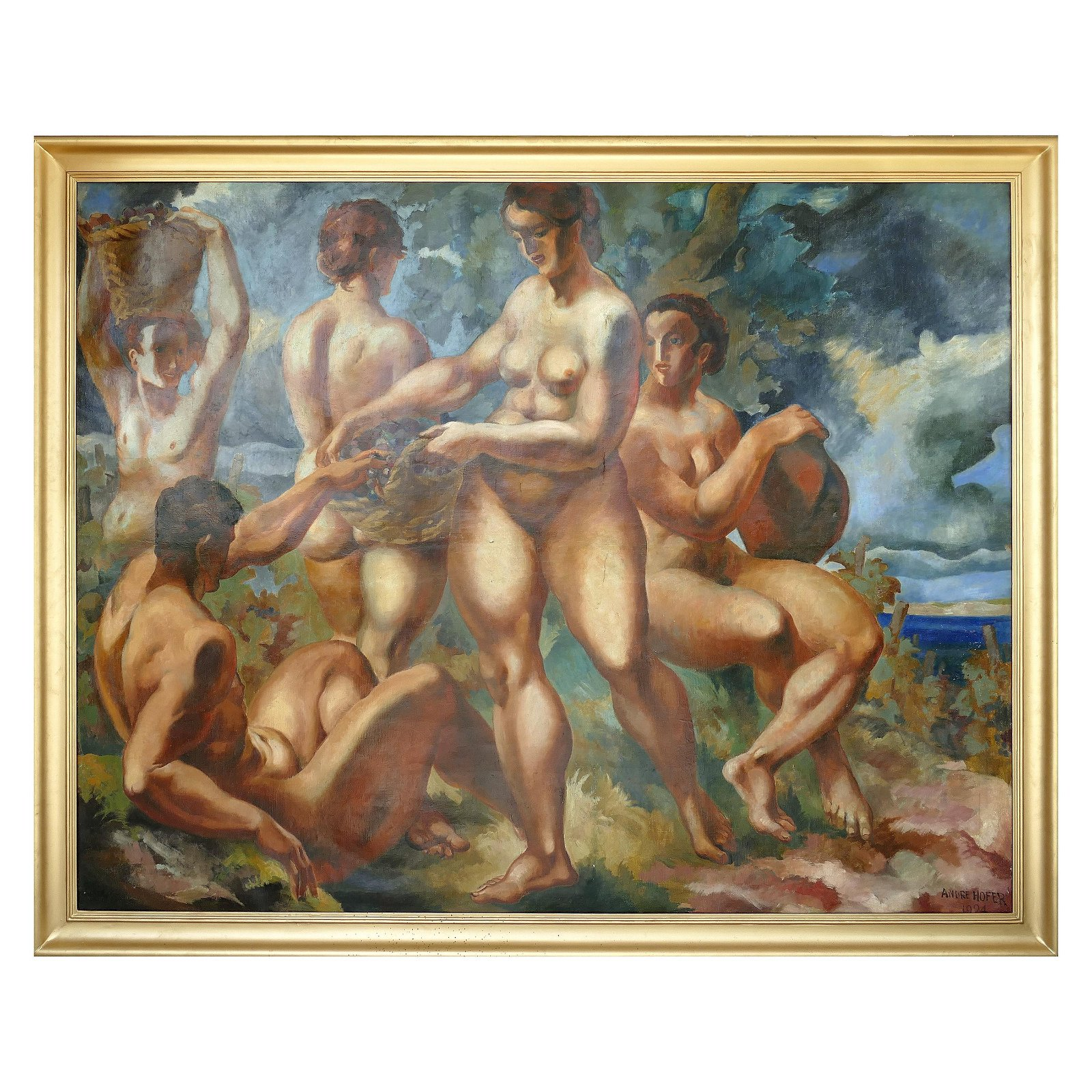 Monumental Art Deco Oil Painting by André Hofer on