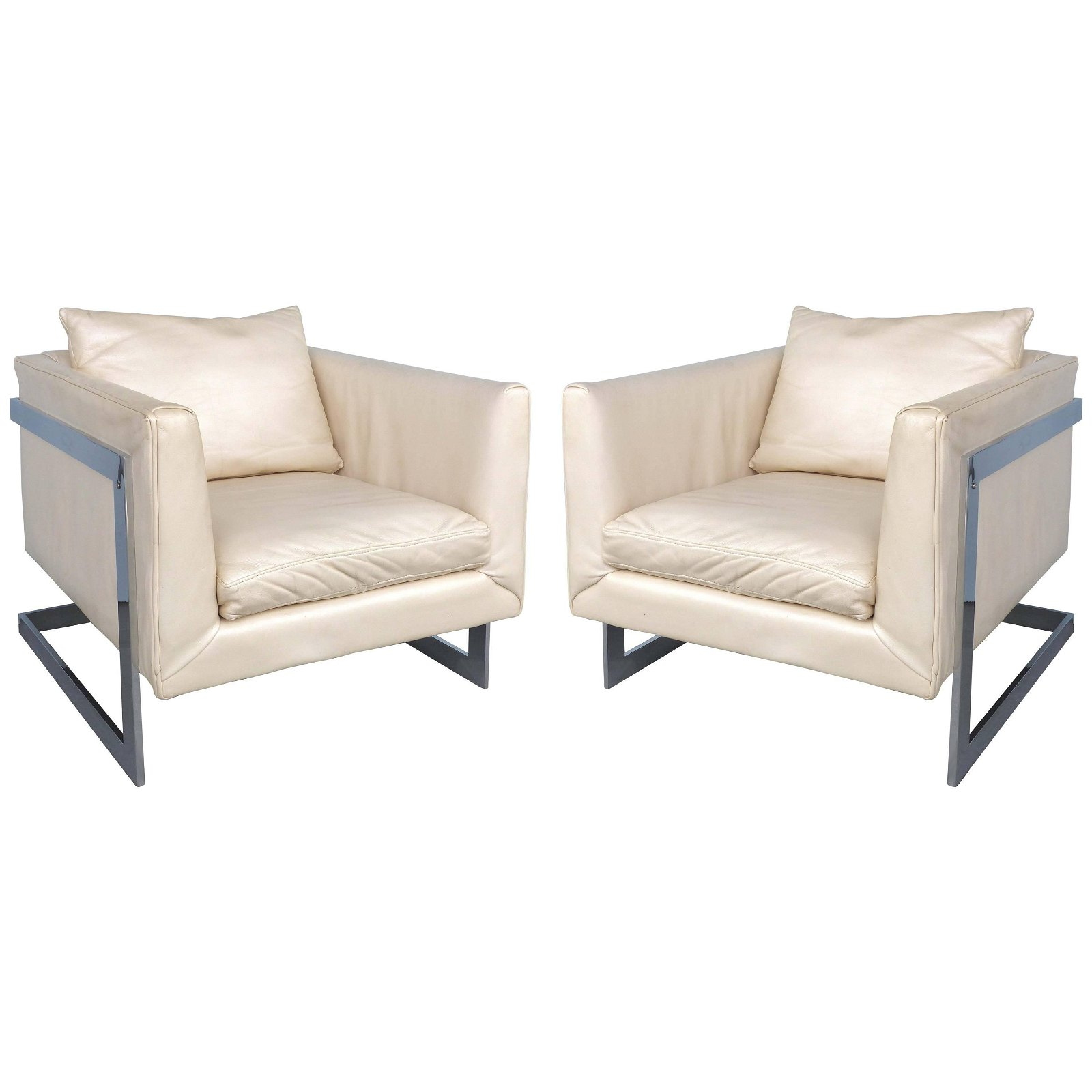 MidC. Attr. to M. Baughman Chrome & Ivory Chairs