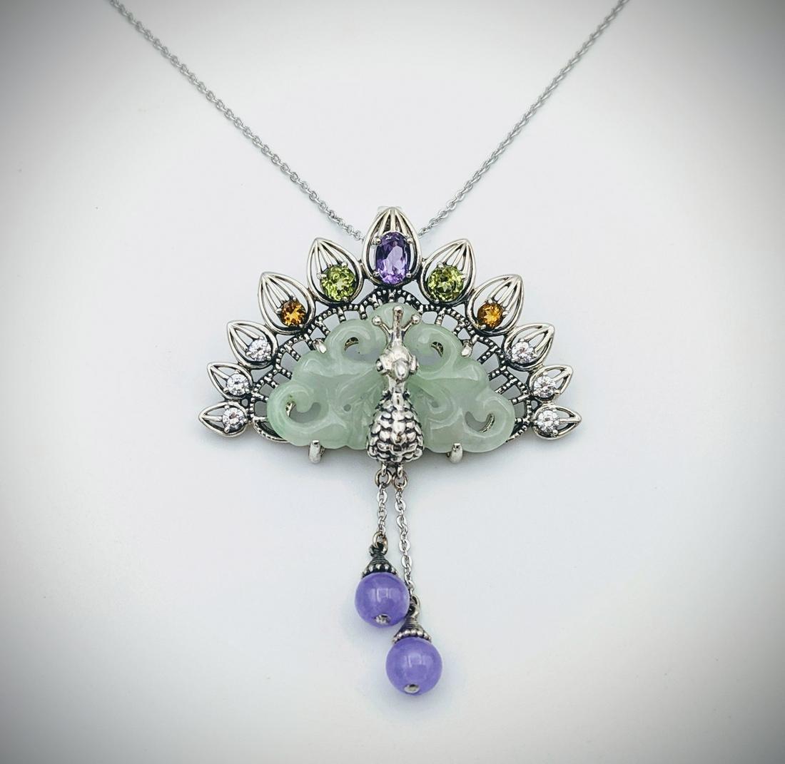 Peacock Pendant w Jade, Amethyst, Peridot, Citrine, CZs