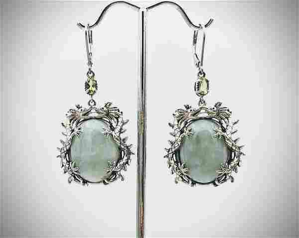 Sterling Silver Double Dragon Earrings w Jade & Peridot