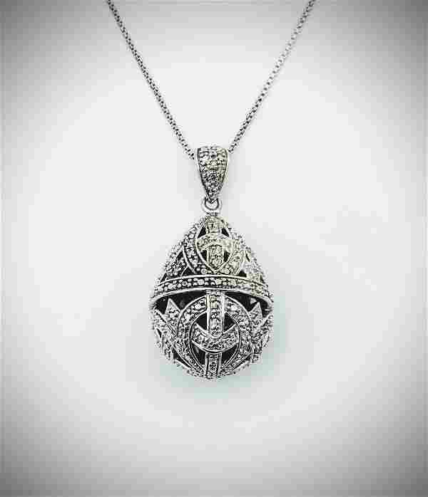 Sterling Silver Italian Necklace w Diamond Filigree