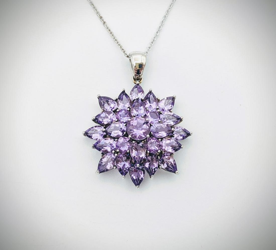 Sterling Silver Necklace w Clustered Amethyst Pendant
