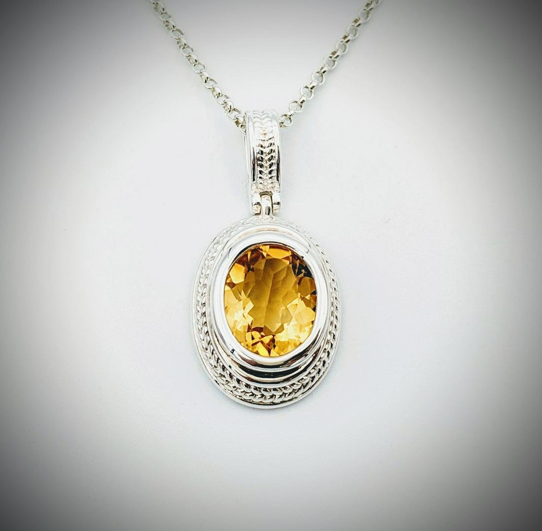 Sterling Silver Necklace w Oval Citrine Pendant