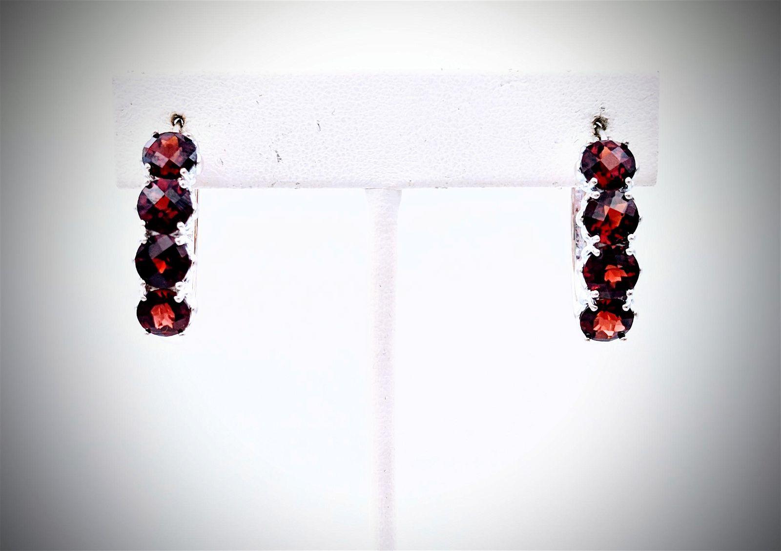 Sterling Silver Oval Hoop Earrings w Red Garnet