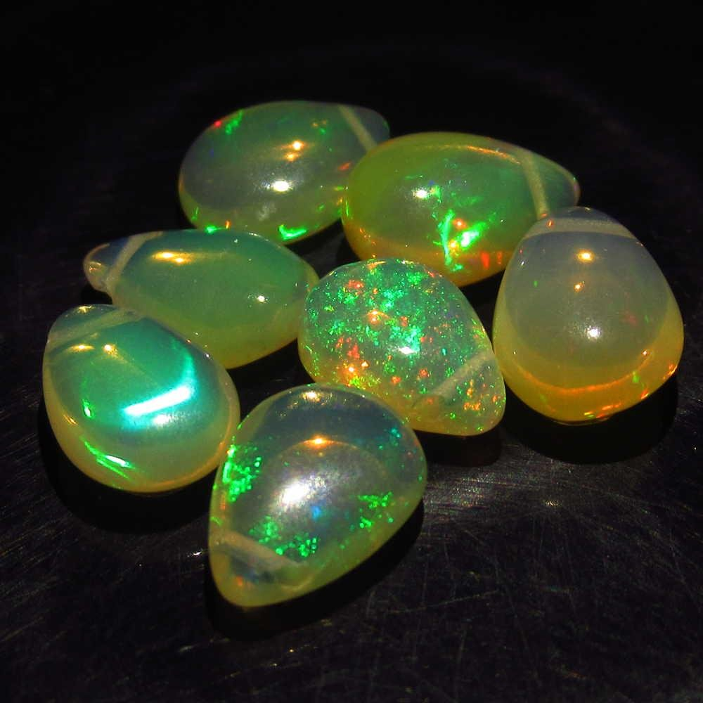 6.06 Ct Genuine 7 Drilled Pear Multi-Color Fire Opal