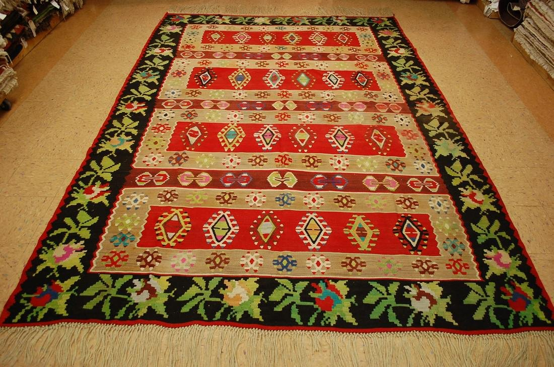 c1930s ANTIQUE FINELY WOVEN ROOM SIZE BESSARABIAN KILIM