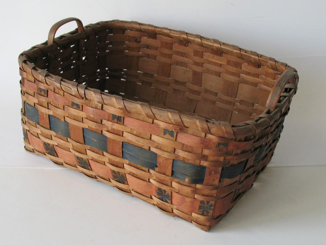 Early New England Painted Indian Basket.