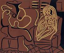 """Pablo Picasso linocut """"Guitar Player and Seated Woman"""""""