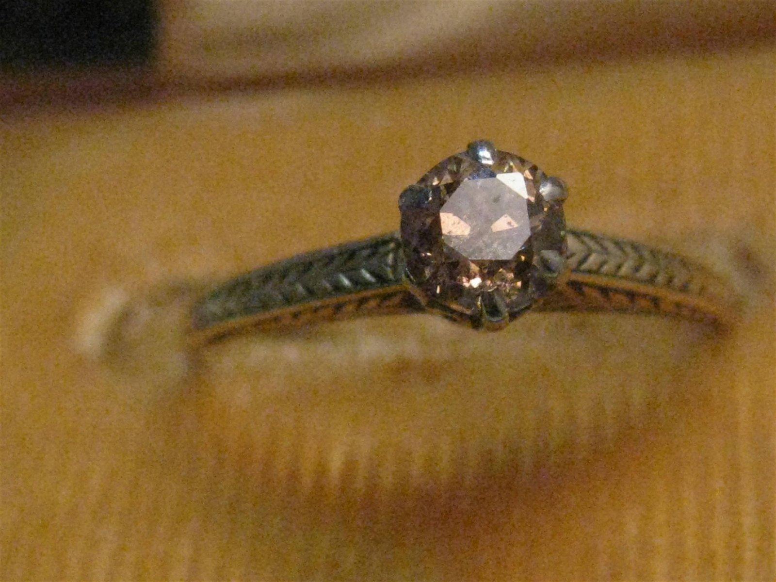 Vintage 14kt Orange/Champagne Diamond Ring, Engagement,