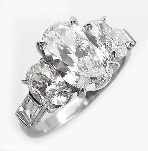 GIA 3.45ct Estate Vintage Oval Cut Diamond Three Stone
