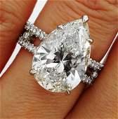 Huge GIA 7.52CT Vintage PEAR Shape DIAMOND ENGAGEMENT