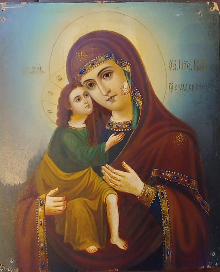 Antique 19c Russian icon of Fedorovskaya