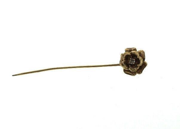 C.1950 VINTAGE 18K YELLOW GOLD FLOWER DIAMOND STICK PIN