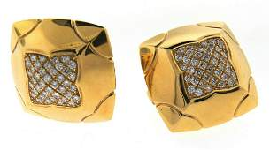 CHIC Bulgari 18k Yellow Gold & Diamond Pyramid Earrings