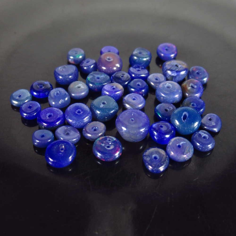 5.48 Ctw Natural 39 Drilled Round Blue Fire Opal Beads