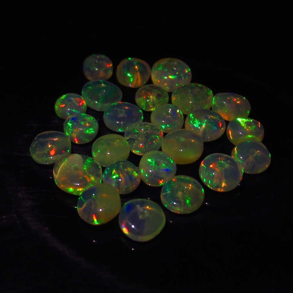 4.57 Ctw Natural 25 Ethiopian Drilled Round Fire Opal