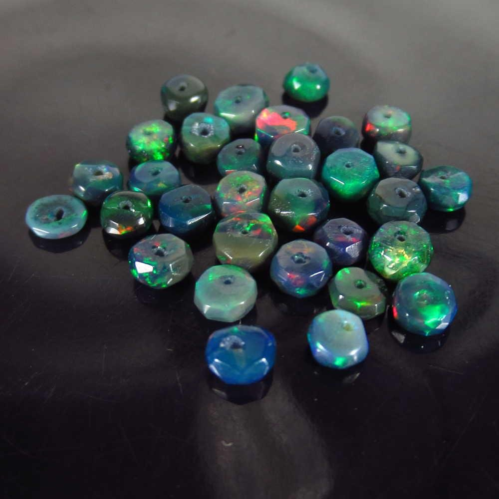 5.44 Ctw Natural 31 Drilled Faceted Black Opal Beads
