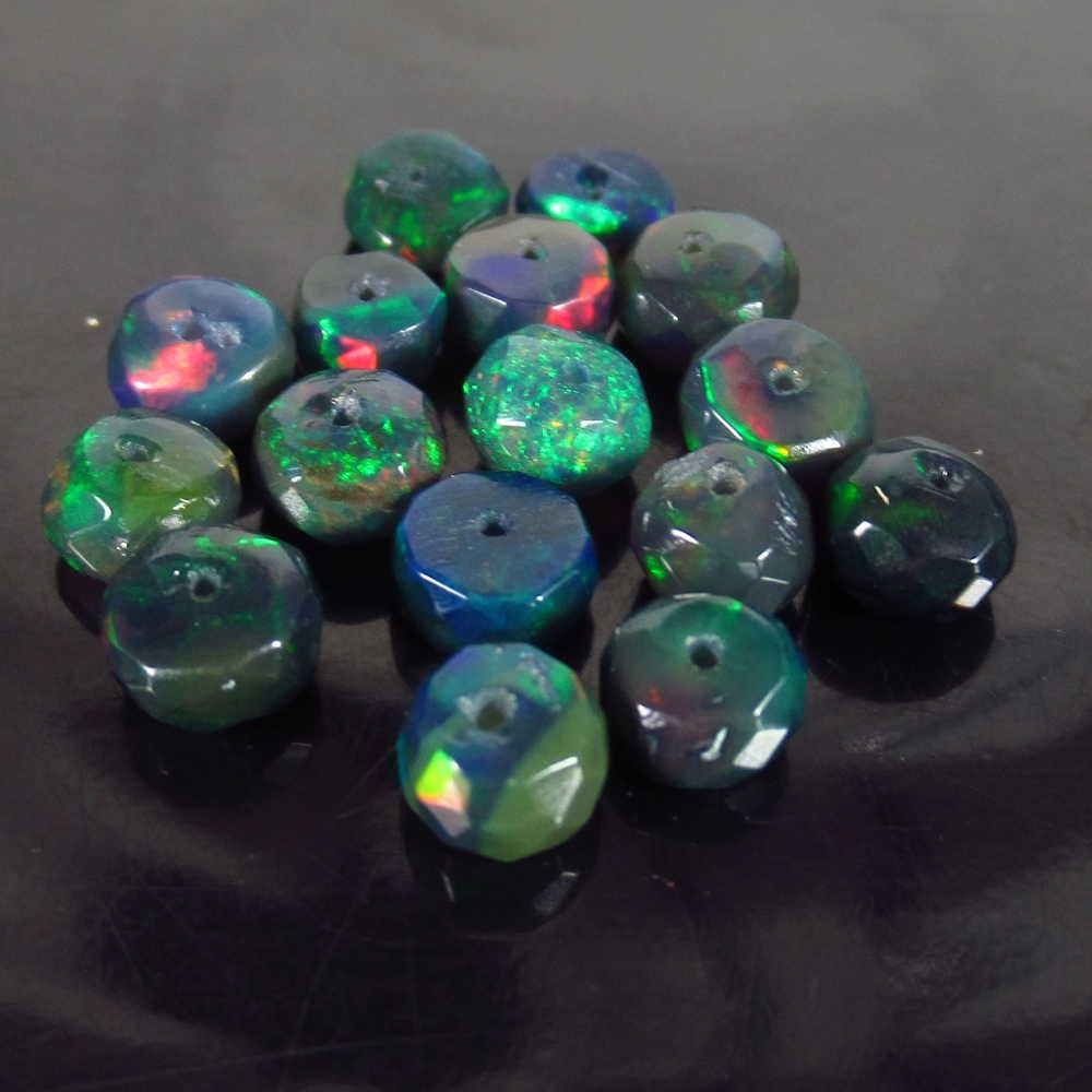5.37 Ctw Natural 16 Drilled Faceted Black Opal Beads