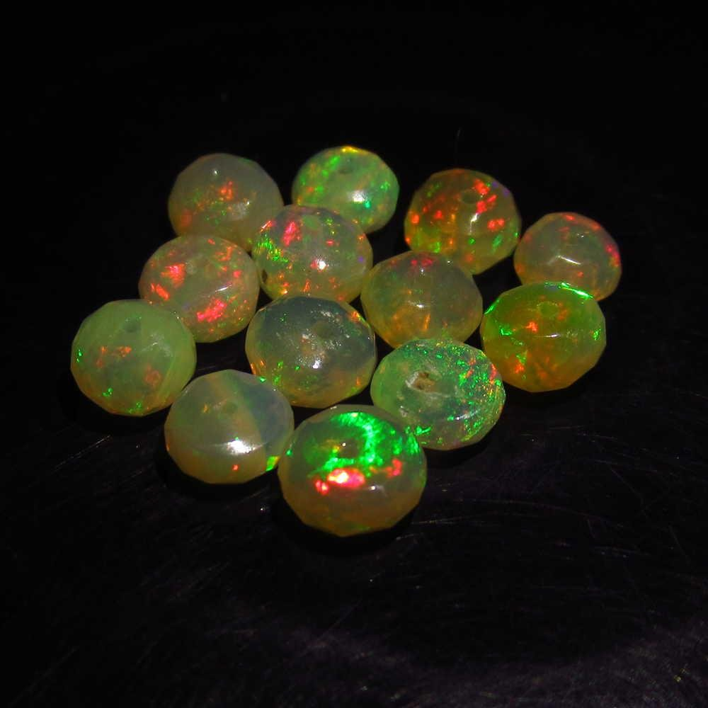 5.18 Ctw Natural 13 Drilled Round Faceted Opal Beads