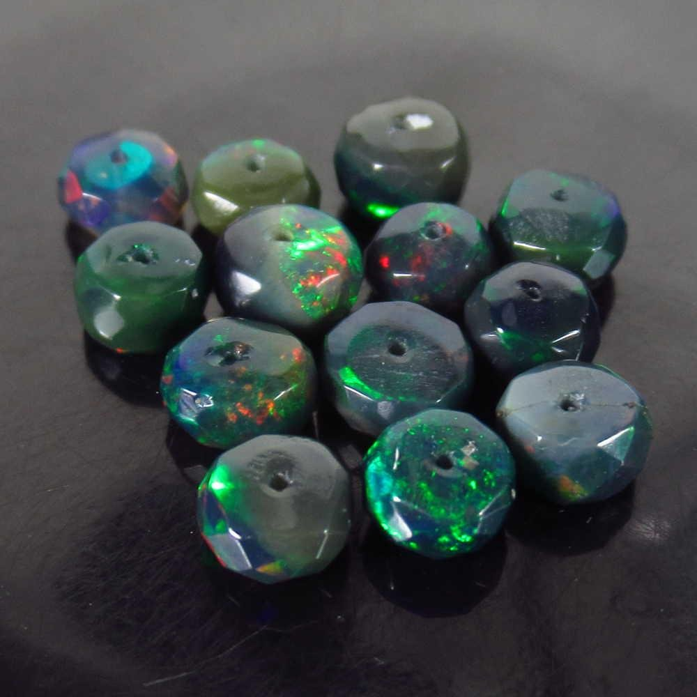 5.14 Ctw Natural 13 Drilled Faceted Black Opal Beads