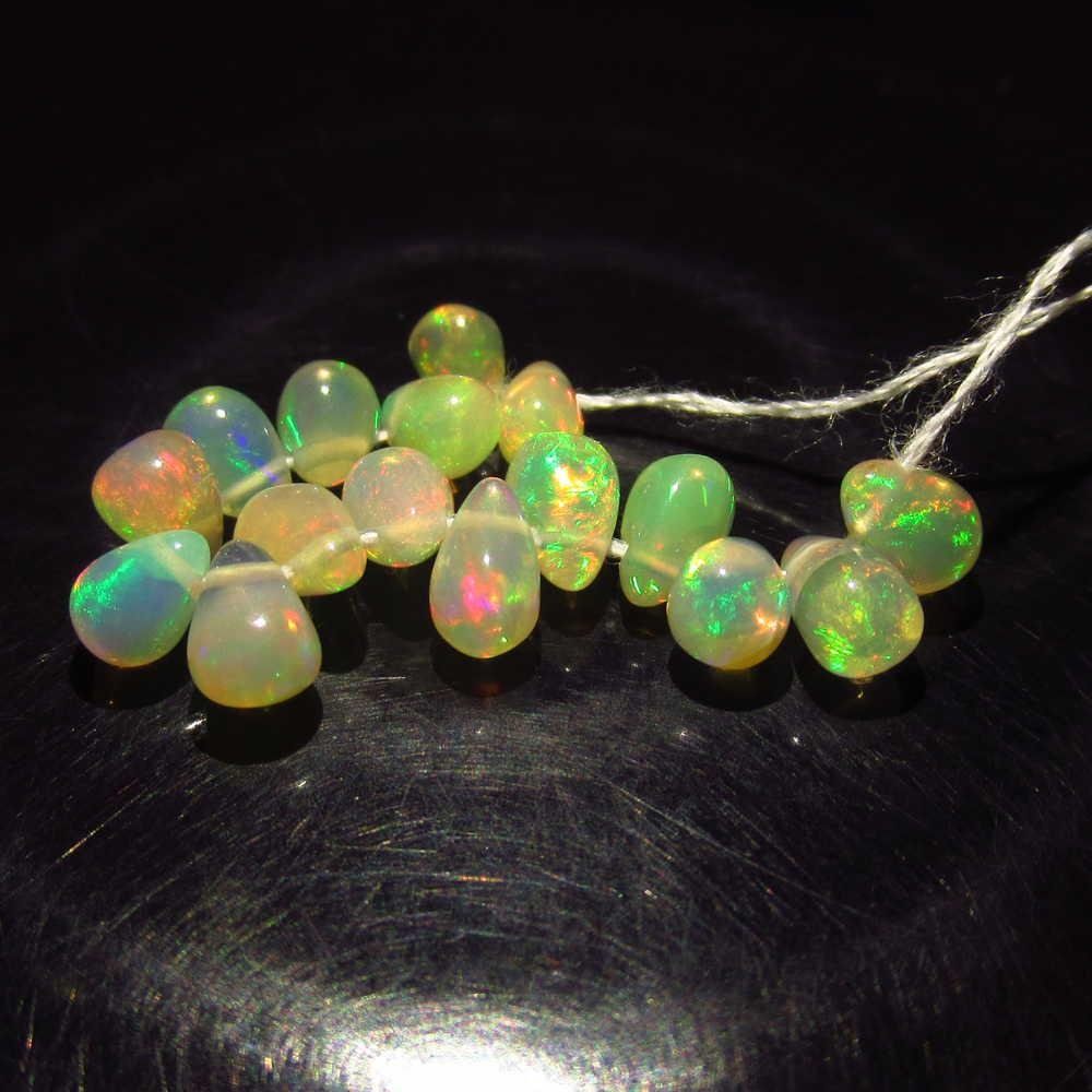 3.97 Ctw Natural 27 Ethiopian Drilled Fire Opal Beads