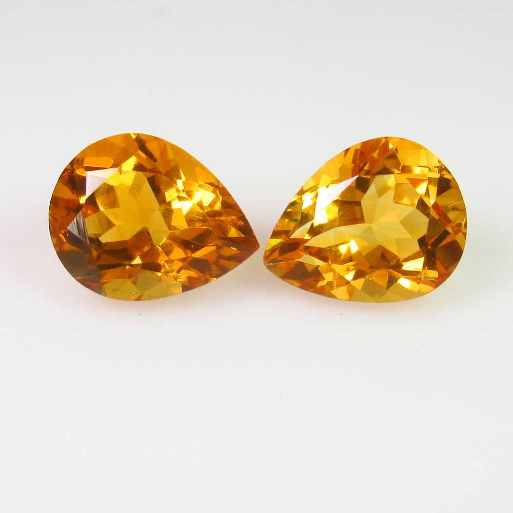 5.03 Ct Genuine Orange Yellow Citrine Pear Pair