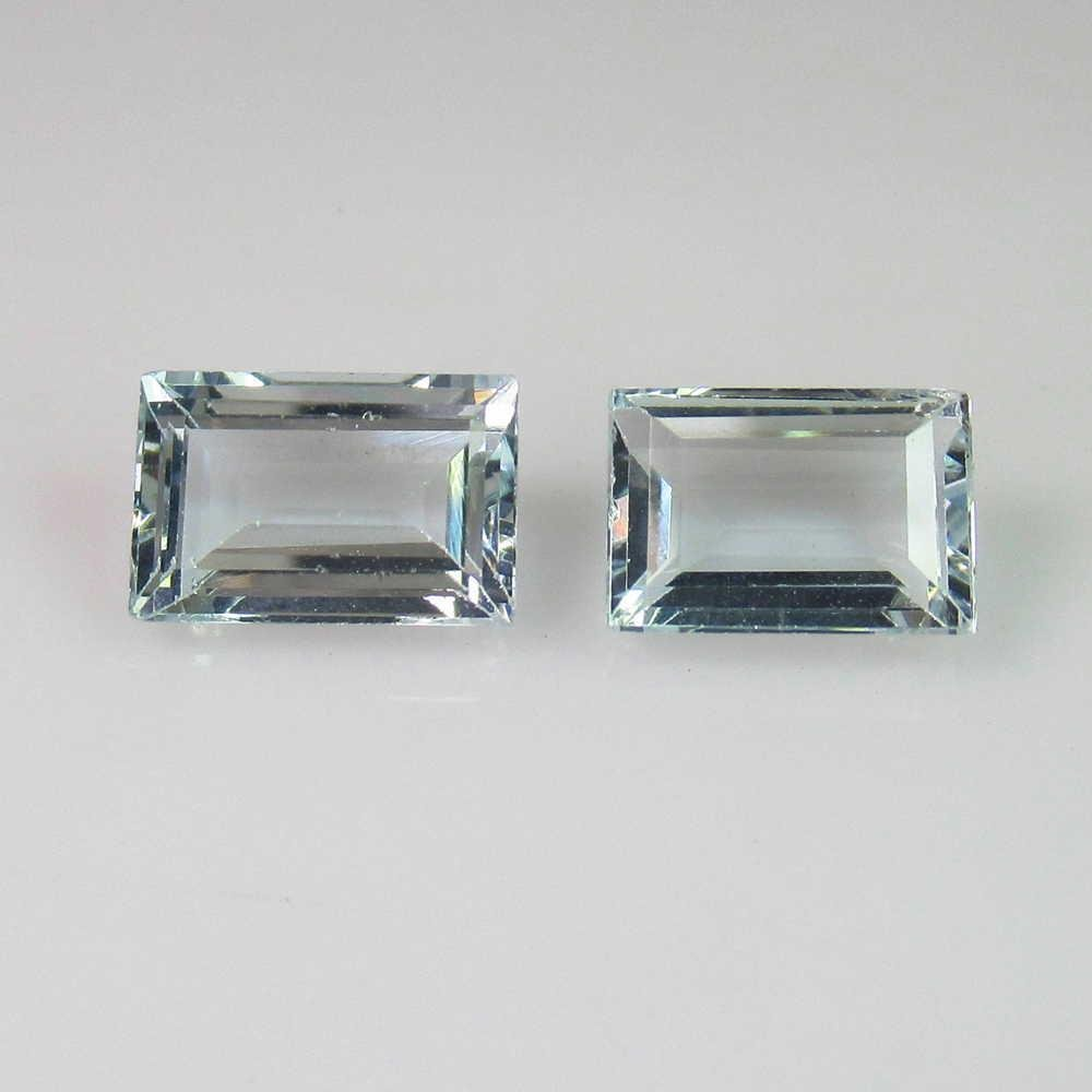 3.68 Ct Genuine Aquamarine Octagon Pair