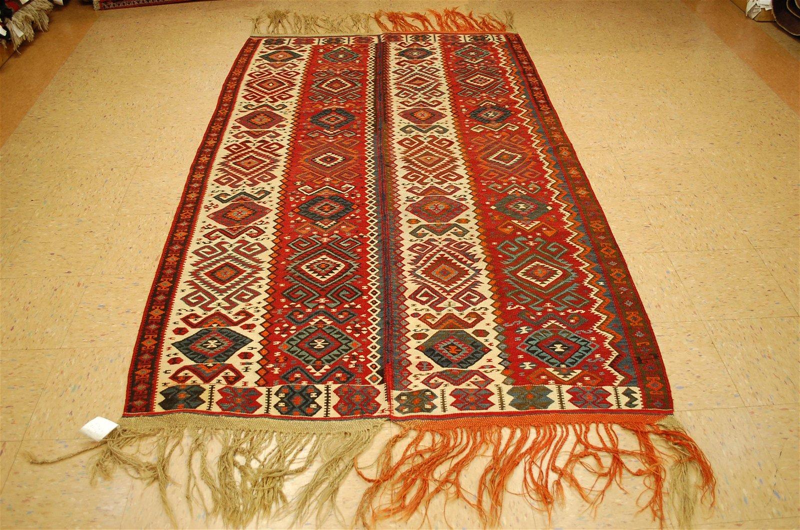 Cir 1920's Antique Detailed Caucasian Kilim Flat Woven