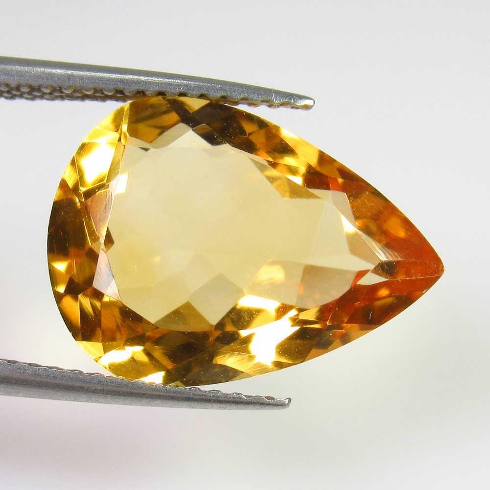 6.32 Ct Genuine Yellow Citrine Pear Cut