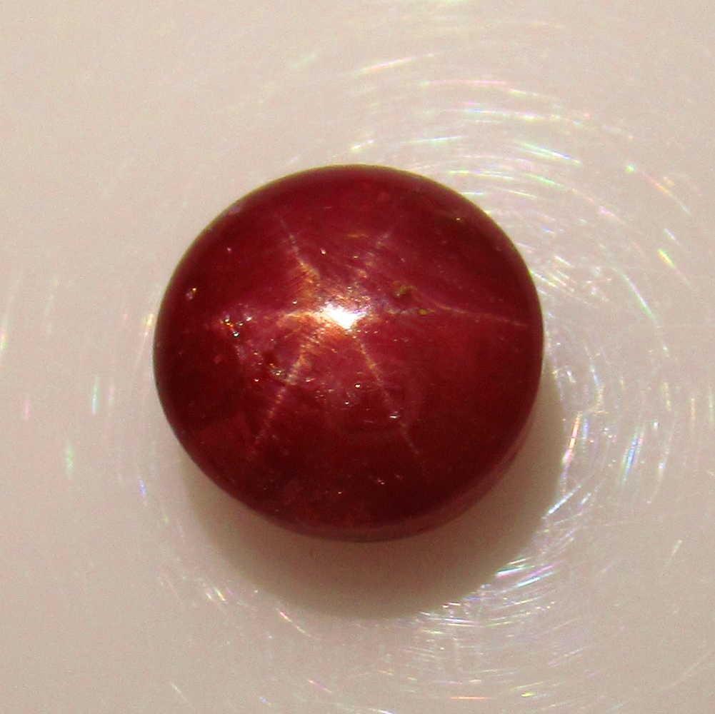 6.34 Ct Genuine Six Line Star Ruby Round Cab