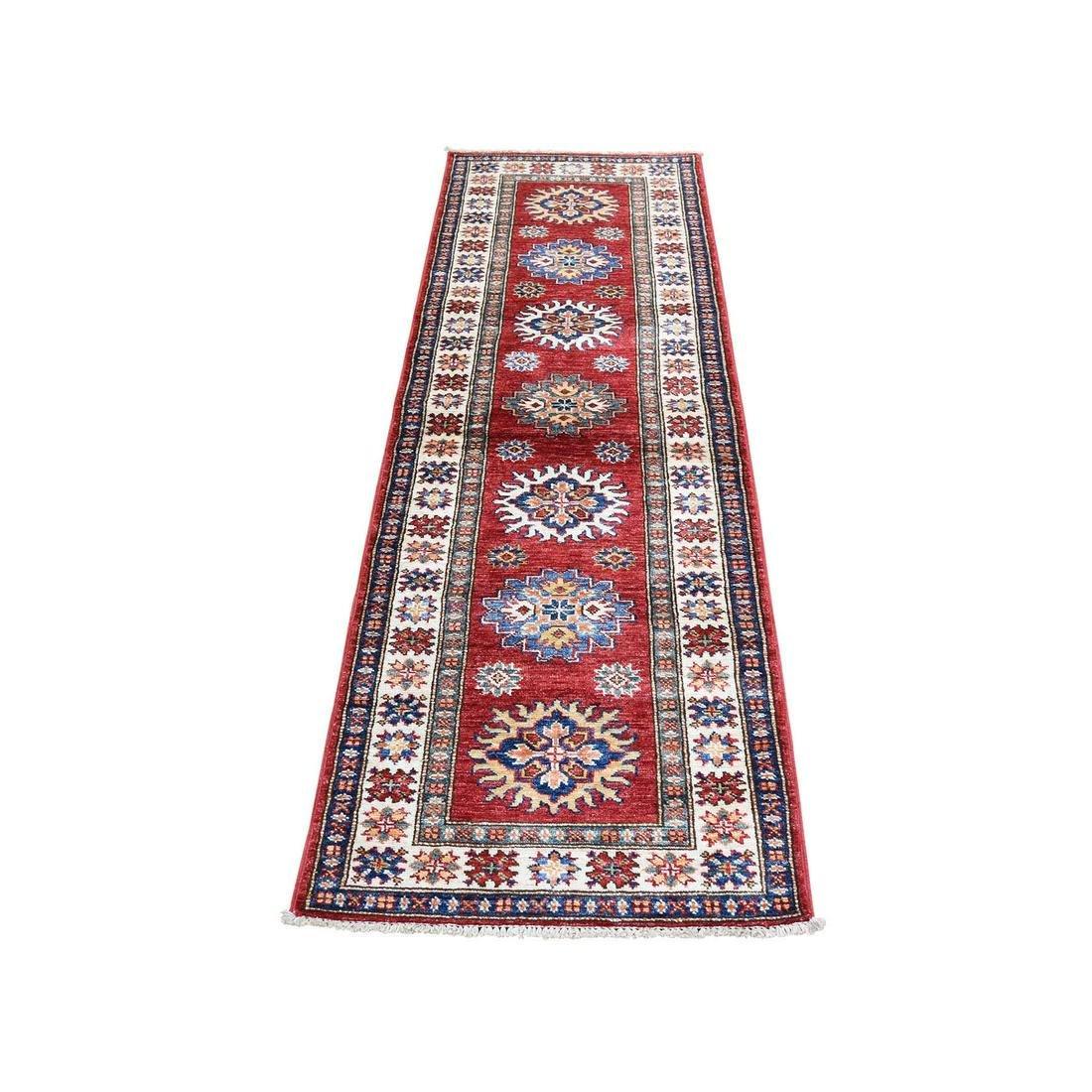 Super Kazak Pure Wool Geometric Design Runner