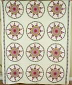 Vintage 40's Red & White Drunkard's Path Antique Quilt